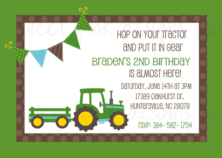19 best justin's john deere tractor birthday party images on, Birthday invitations