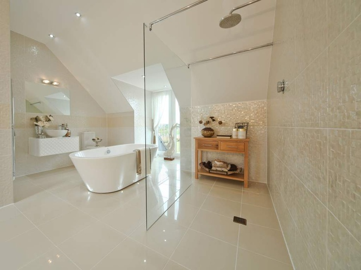 For a truly luxurious feel for your bathroom, add a freestanding bath and a walk-in shower that's wet room worthy.