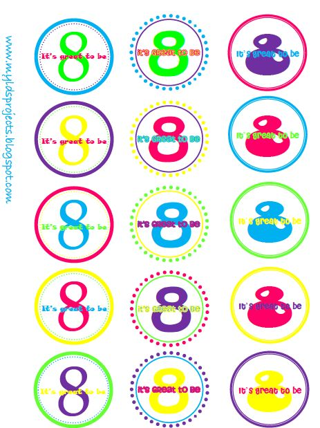 """""""It's Great to Be 8"""" Cupcake Toppers"""