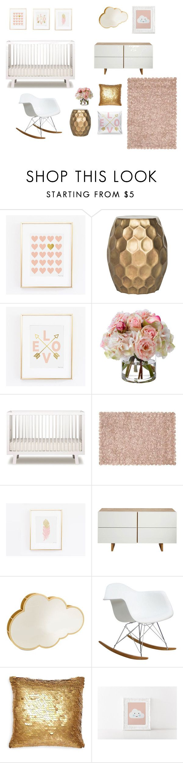 """Pink and Gold Baby Nursery"" by pennyjanedesigns on Polyvore featuring interior, interiors, interior design, home, home decor, interior decorating, Safavieh, Diane James, Oeuf and MASH Studios"