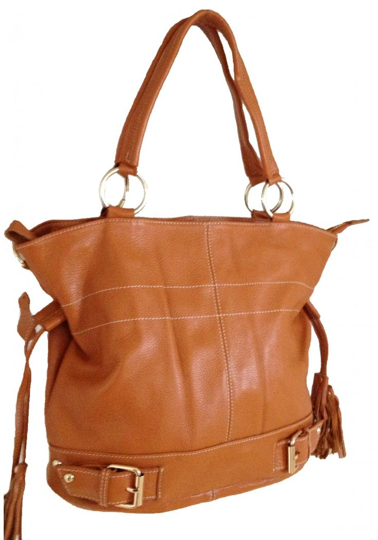 Elicia Charvet -- Women's Brown Leather Tote with Draw Strings