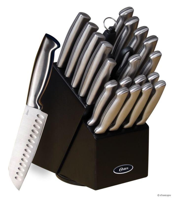 OSTER BALDWYN 22pc KITCHEN STAINLESS STEEL CUTLERY KNIFE KNIVES BLACK BLOCK SET…