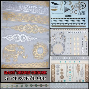 Смешанные 5 шт./лот оптовая продажа мода новое ожерелье браслеты татуировки металлического серебра золотой временные татуировки наклейки для взрослых