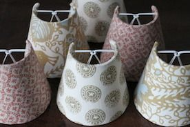 These are some of our new candle shades in lovely fabrics.