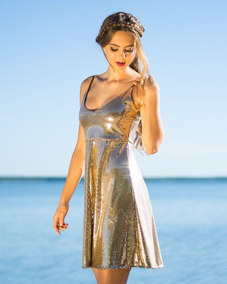 Rose Slip Dress in Gold Sequin