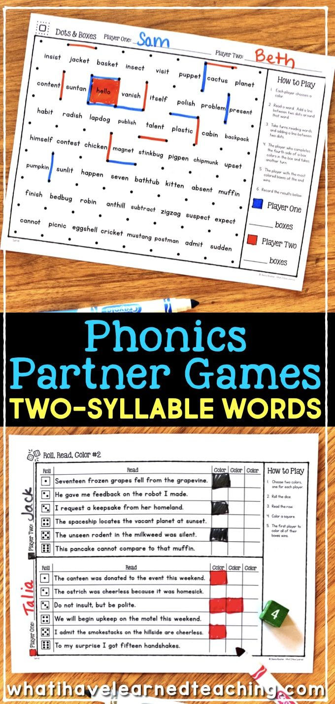 Partner Phonics Games for Decoding Two-Syllable Words   Phonics games [ 1428 x 680 Pixel ]