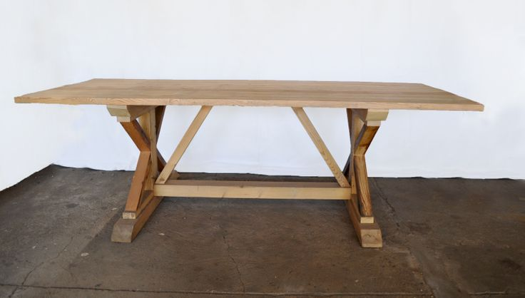 #NorthcliffAntiques: Cross-leg table made to size from reclaimed wood with a natural finish; it looks raw but is sealed against red wine and it's only vice. #AntiqueShops #CustomFurniture #DiningRoomTables #ReclaimedWood #Johannesburg