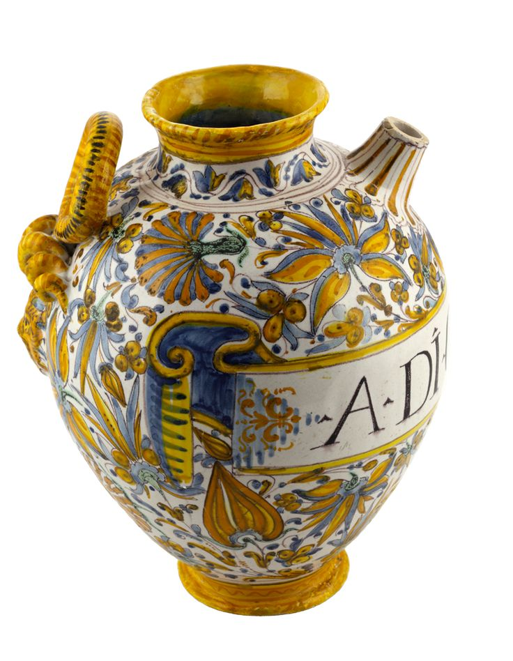 Dzban apteczny majolikowy, 1706, Włochy, kolekcja Muzeum Farmacji Collegium Medicum UJ w Krakowie / Majolica apothecary vessel, 1706, Italy, The Museum of Pharmacy at the Jagiellonian University Medical College in Kraków collection