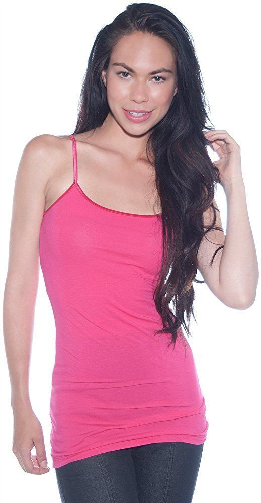 e20eac982f TheLovely Women s   Juniors Camisole Built in Shelf BRA Adjustable  Spaghetti Strap Long Tank Top -