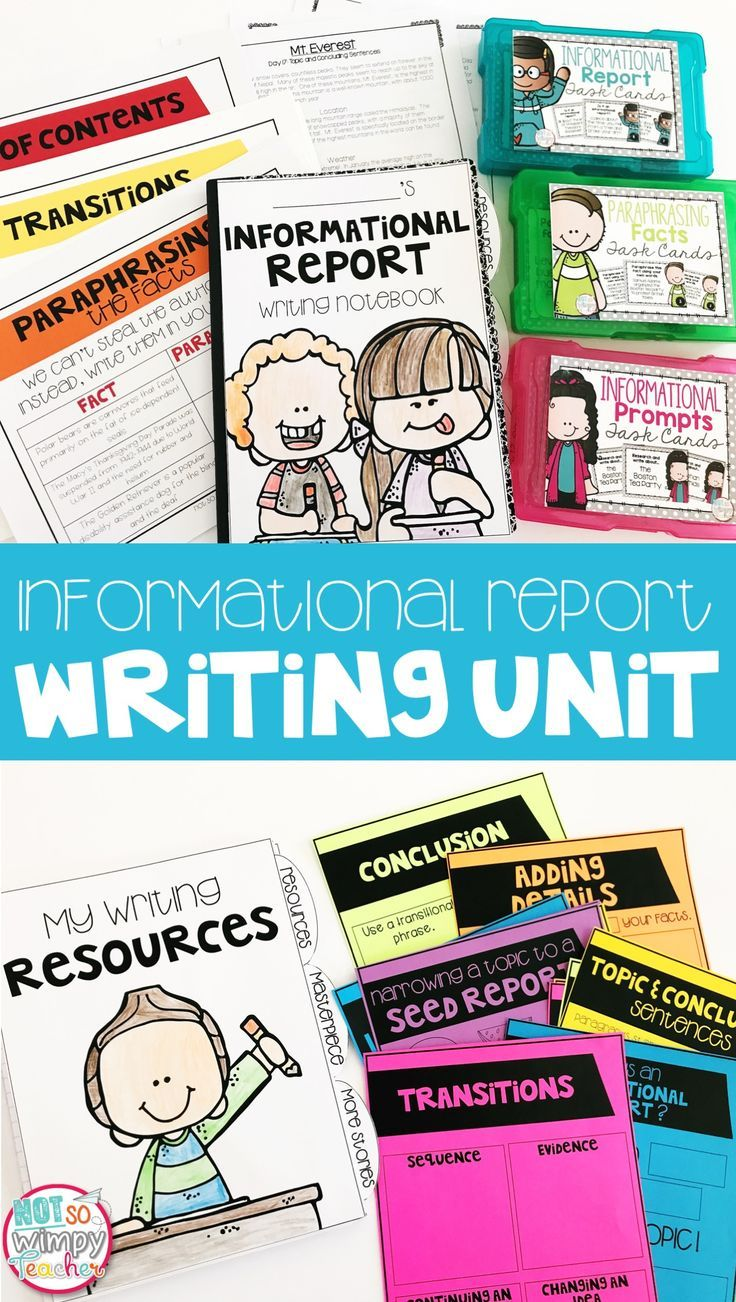 This informational report writing unit includes everything you need to teach, practice and assess expository writing! It has lesson plans, anchor charts, mentor text passages and more! There are lessons about research, note taking, paraphrasing, adding details, paragraphs and so much more! It is perfect for writing workshop.  It would also make a great homeschool writing curriculum.