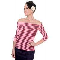 Gloria Off Shoulder Retro Striped Top in Red