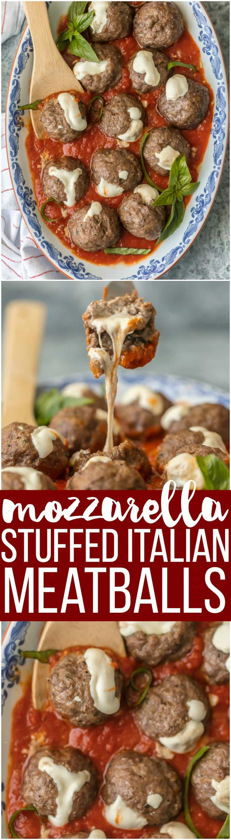 These MOZZARELLA STUFFED ITALIAN MEATBALLS are the ultimate appetizer. Stuffed with whole milk mozzarella and oh so juicy and tender, you better make a double batch. via @beckygallhardin