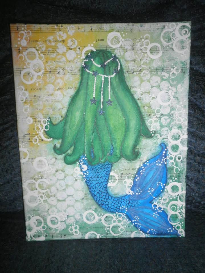 Mermaid by Jackie Peniuk, mixed media paint over collage on 7x9 canvas board.