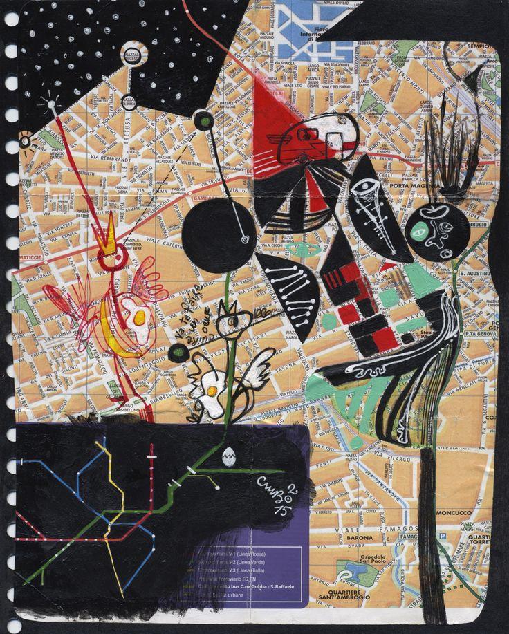 «Va te faire cuire un oeuf à Milano» Acrylique, crayon & collage sur una mappa di Milano ! • 2015 • 20X25 cm www.carolinemathieubanville.com