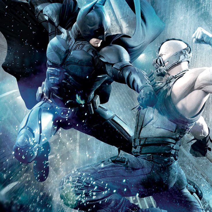Batman and Bane duking it out.