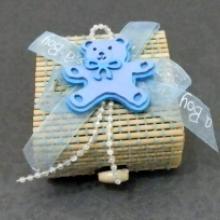 mavi ayılı erkek bebek doğum için süs kutusu içine lavanta v.b. koymak için inanılmaz güzel bir süs kutusu