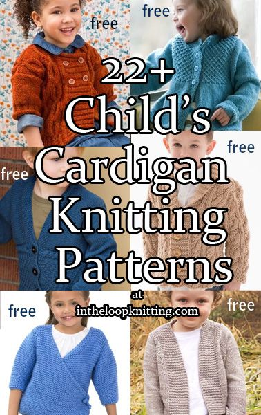 Knitting patterns for child cardigan sweaters for girls and boys. Most patterns are free.