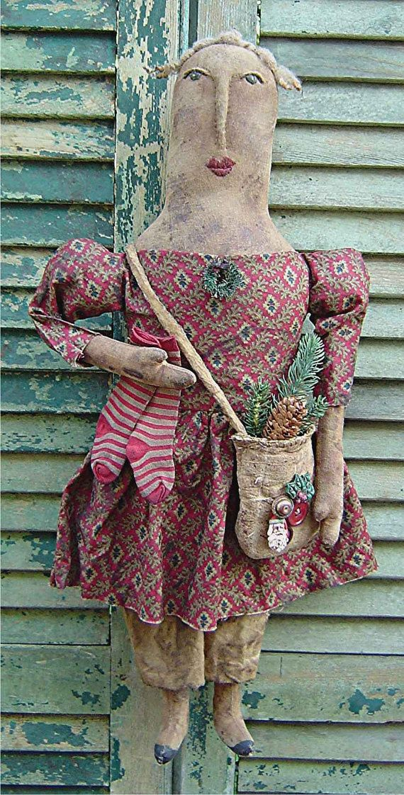The Country Cupboard Primitive Folk Art Nellie Noel Christmas Doll Craft Sewing Pattern