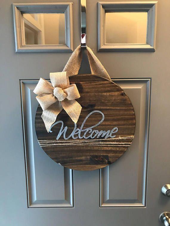 Welcome Door Hanger, Housewarming Gift, Front Door Sign, All Year Door Hanger, Door Sign, Welcome Sign For Front Door, Wood Door Decor