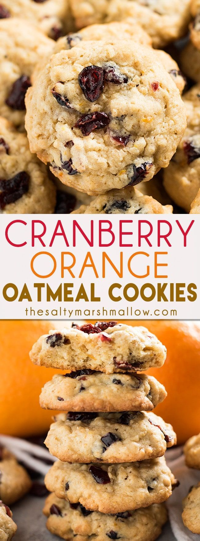 Cranberry Orange Oatmeal Cookies - These oatmeal cookies are thick and chewy, and soft in the middle! Packed full of dried cranberries and plenty of orange zest, these cookies are a fall and holiday favorite!