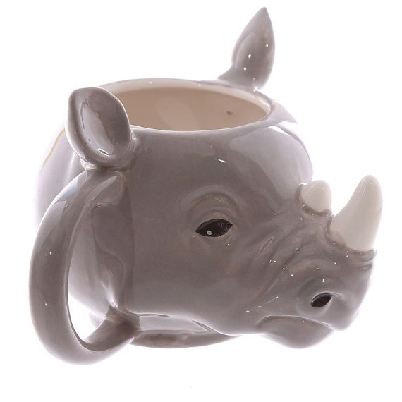 Coffee Mug Novelty Rhino Head Shaped Ceramic by getgiftideas