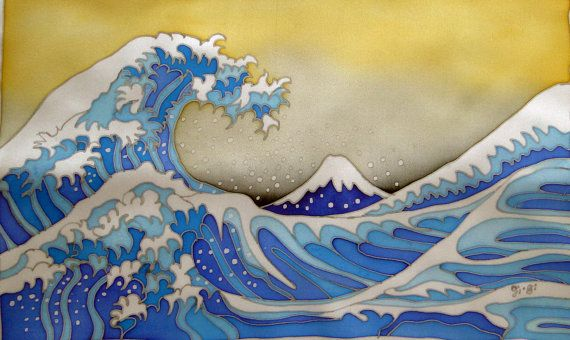 Painting on Pure Silk -GREAT WAVE- Cold batik. Japanese landscape. MADE to order