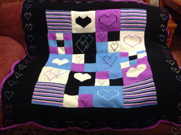 Love heart knitted squares