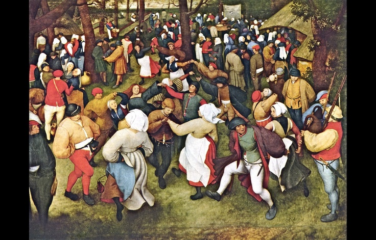 "Pieter Bruegel the Elder (Flemish, c. 1525/30–1569): Wedding Dance (The Dance Village), 1566. Oil on panel, 47 x 62 inches (119.4 x 157.5 cm). Detroit Institute of Arts, Detroit, Michigan, USA.     ""The painting depicts 125 wedding guests. Renaissance period. Brides wore black and men wore codpieces. Voyeurism is depicted throughout the entire art work; dancing was tabooed at the time by the authorities and the church, and the painting can be seen as both a critique and comic depiction ..."""