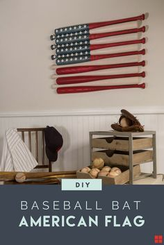 Can you think of a better way to celebrate our freedom than an All-American DIY project? Varathane Wood Stain and a dozen wooden baseball bats--all made in the USA and all you need to create this patriotic wall art for your own home. Make this baseball bat American flag for your bedroom, living room or entry way in a few simple steps with these free DIY plans from Rust-Oleum.