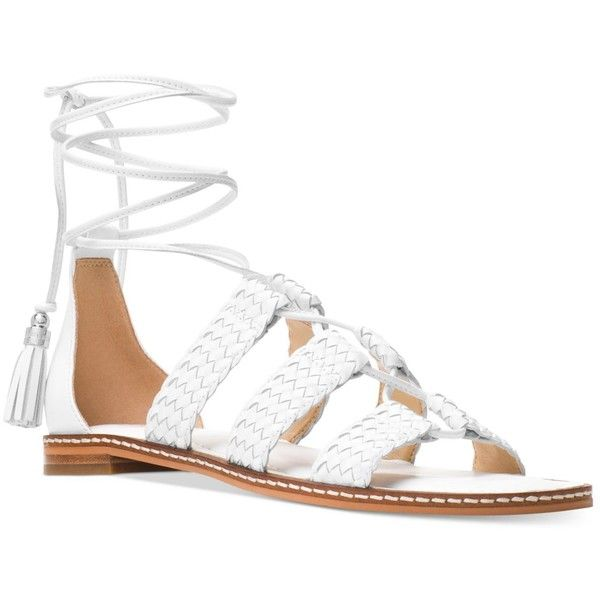 Michael Michael Kors Monterey Gladiator Flat Sandals ($60) ❤ liked on Polyvore featuring shoes, sandals, optic white, strap sandals, strappy gladiator sandals, white strappy sandals, white gladiator sandals and roman gladiator sandals