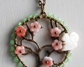 Squirrel in a cherry tree necklace