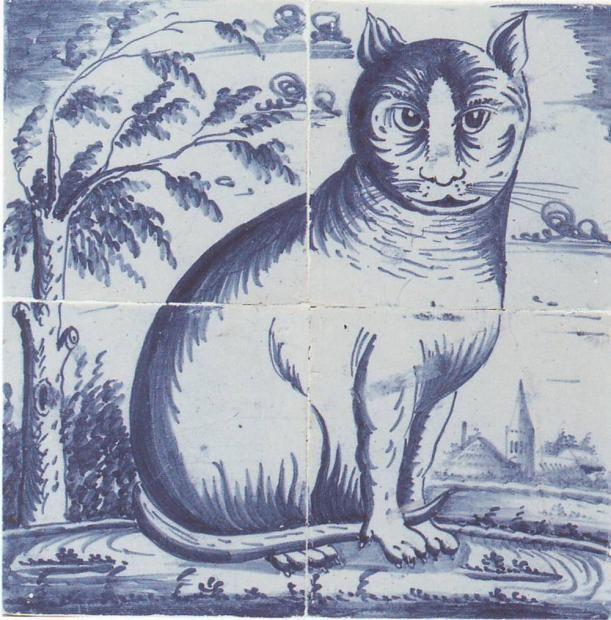 Antique olandese Delft pannello tessera animale del 1800