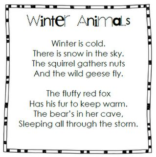 Winter Animals. I made animals and objects described in poem for students to retell