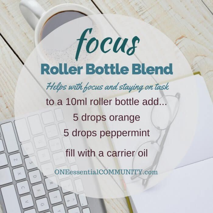 """focus"" roller bottle blend helps with focus and staying on task-- LOVE this…"