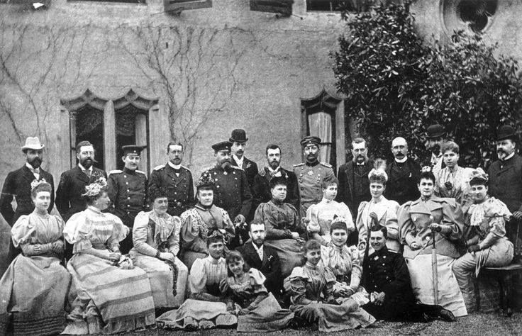 Betrothal of Tsarevich Nicholas of Russia (the future Tsar Nicholas II) & Princess Alix of Hesse (back row l to r); Prince Henry of Battenberg, Prince Philip of Coburg, Prince Ferdinand of Romania (later King Ferdinand), Prince Henry of Prussia, Grand Duke Paul of Russia, The Duke of Coburg, Tsarevich Nicholas of Russia, William II of Germany & Prussia, Grand Duke Vladimir, Duke of Connaught, Prince Louis of Battenberg, Alexendra of Coburg & The Prince of Wales