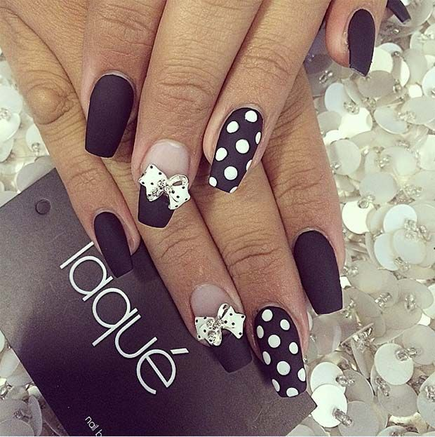 Polka Dot and Bow Nail Design