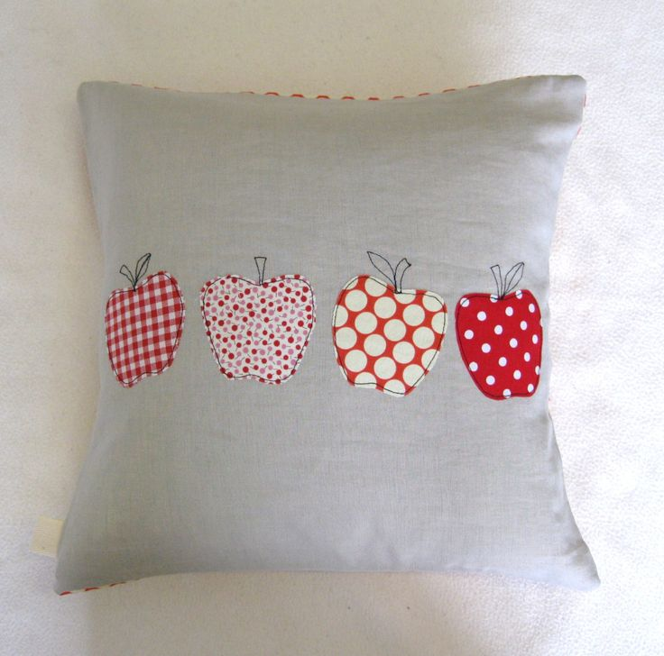 Appliqués with free motion embroidery apples