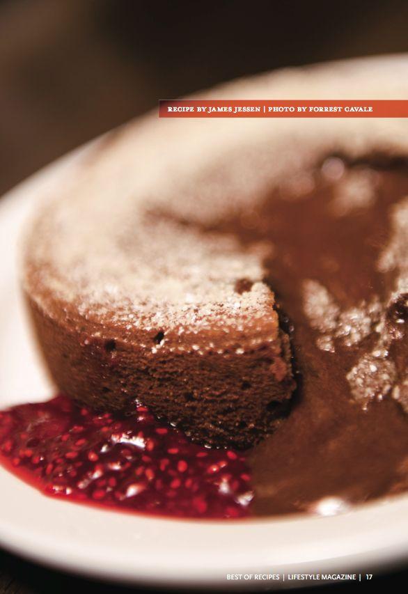 Molten Chocolate Espresso Cake with Raspberry Sauce. #molten # ...