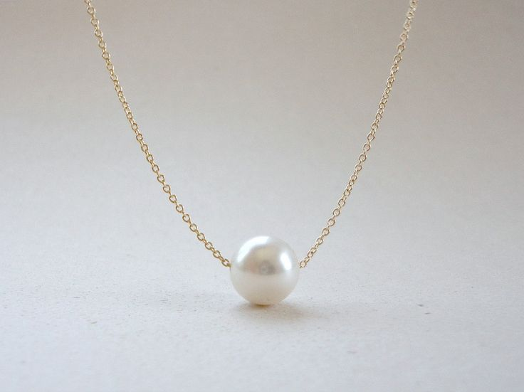 Single pearl necklace, Floating pearl necklace, Bridal pearl necklace, Bridesmaid gift, Simple everyday jewelry by KeyYoung on Etsy https://www.etsy.com/listing/150961487/single-pearl-necklace-floating-pearl