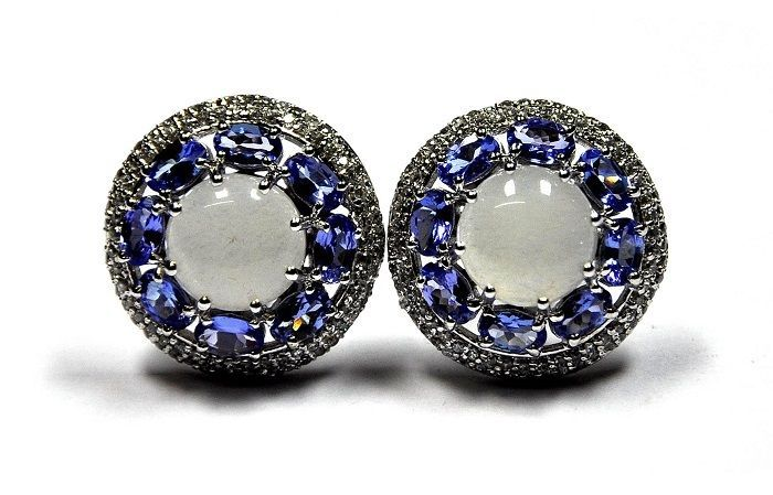 925 Sterling Silver Natural Faceted Tanzanite Gemstone Men's Cufflinks #Unbranded