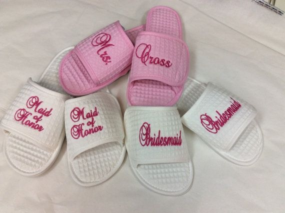 3 pair-Personalized Embroidered Spa Slippers Bride, Maid of Honor, Bridesmaids, Mother of Bride, Mother of Groom Monogram Gifts