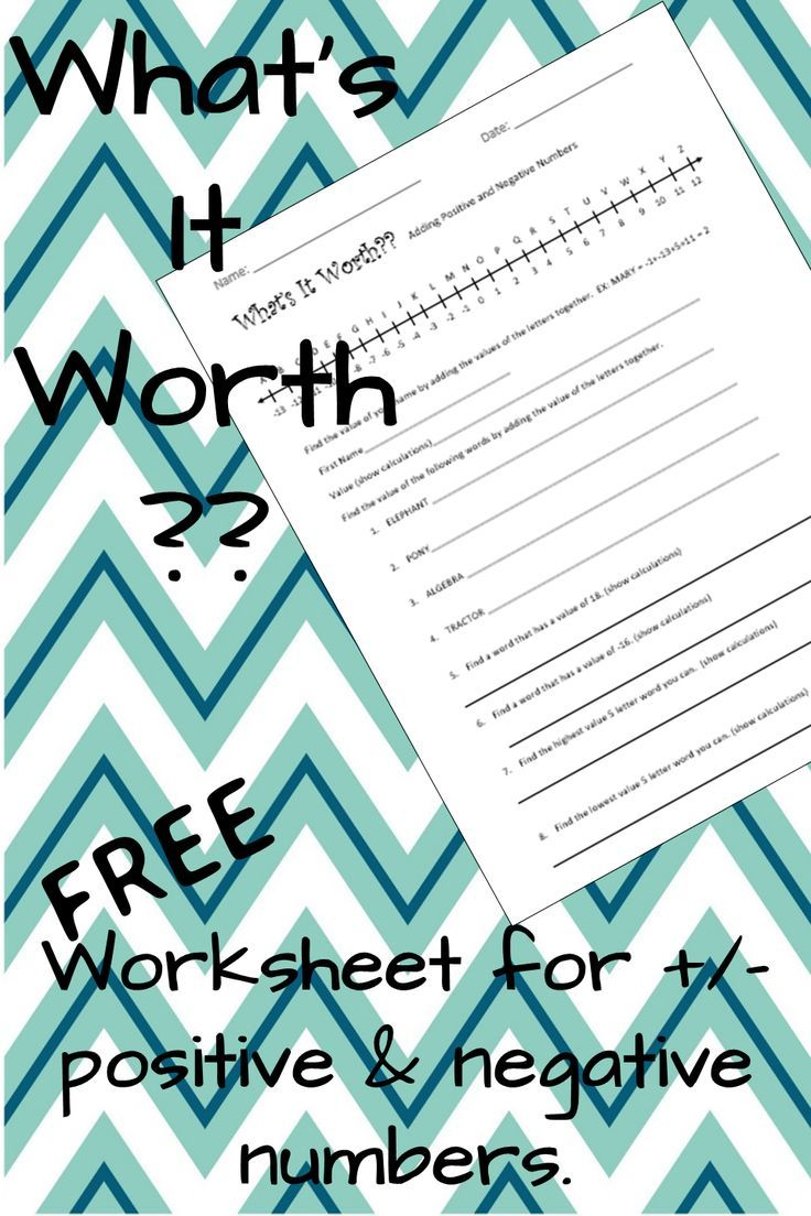"""FREE Worksheet for adding & subtracting positive and negative numbers.  Students find out how much their name (and other words) are """"worth""""! Always a hit!"""