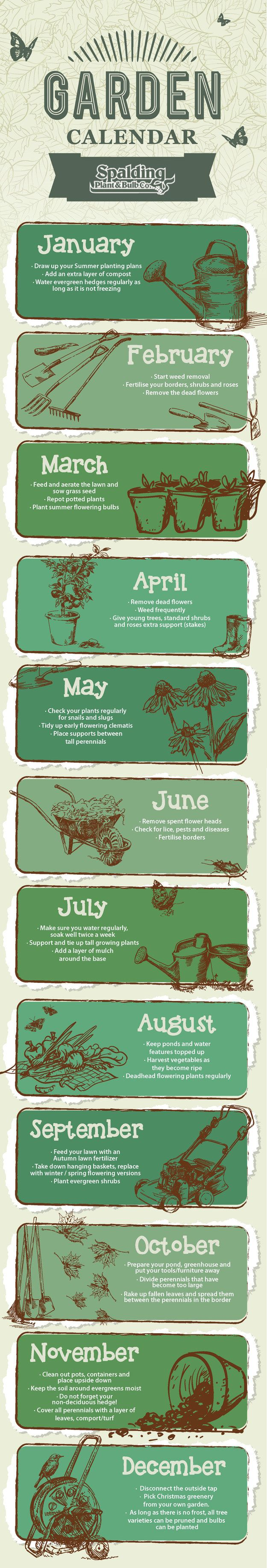 There's always something that needs to be done in a garden: Here's a month-by-month guide to what you should be doing from the Spalding Plant and Bulb Company.