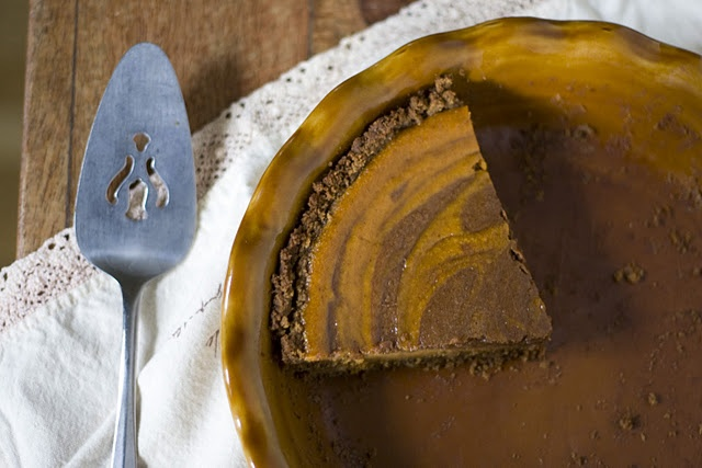 Chocolate Pumpkin Pie with a Gingersnap Crust
