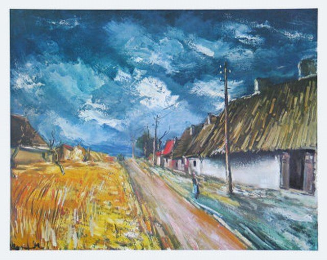 Thatched Cottages at the Roadside, Oil by Maurice De Vlaminck (1876-1958, France)