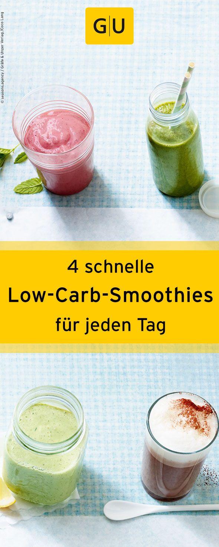 """Der perfekte Start in den Tag! Vier schnelle Rezept für leckere und gesunde Low-Carb-Smoothies aus dem Buch """"Low Carb für Faule"""". Das Rezept findet ihr in der Leseprobe zum Buch. ⎜GU"""