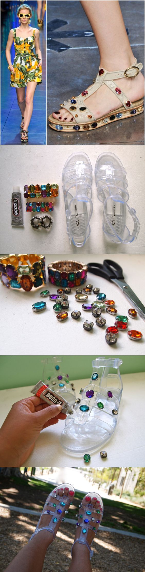 DIY D&G Jeweled Jelly Sandals