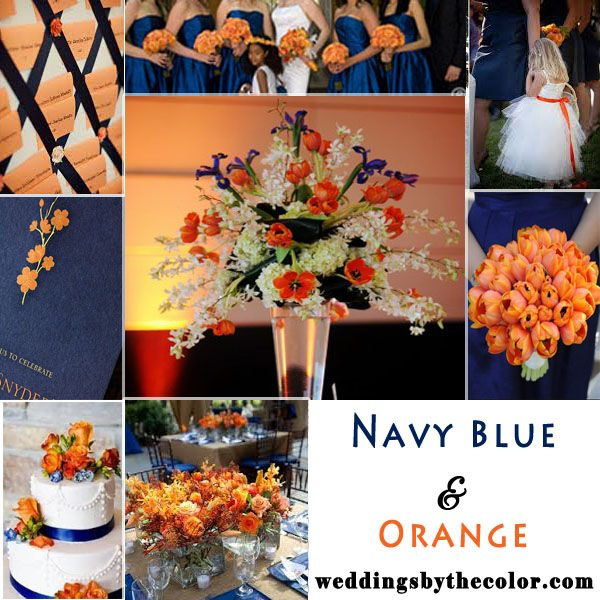 Navy Blue and Orange wedding inspiration board