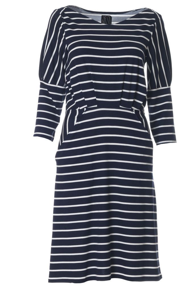Stripes never go out of style! This classic marine and white stripe is taken to a new level in the gorgeous Filukka dress.