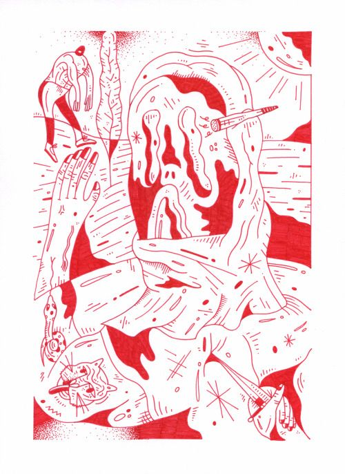 nikvanes:  Backstabber! Love doing these single line illustrations.A4, red stabilo on white paper